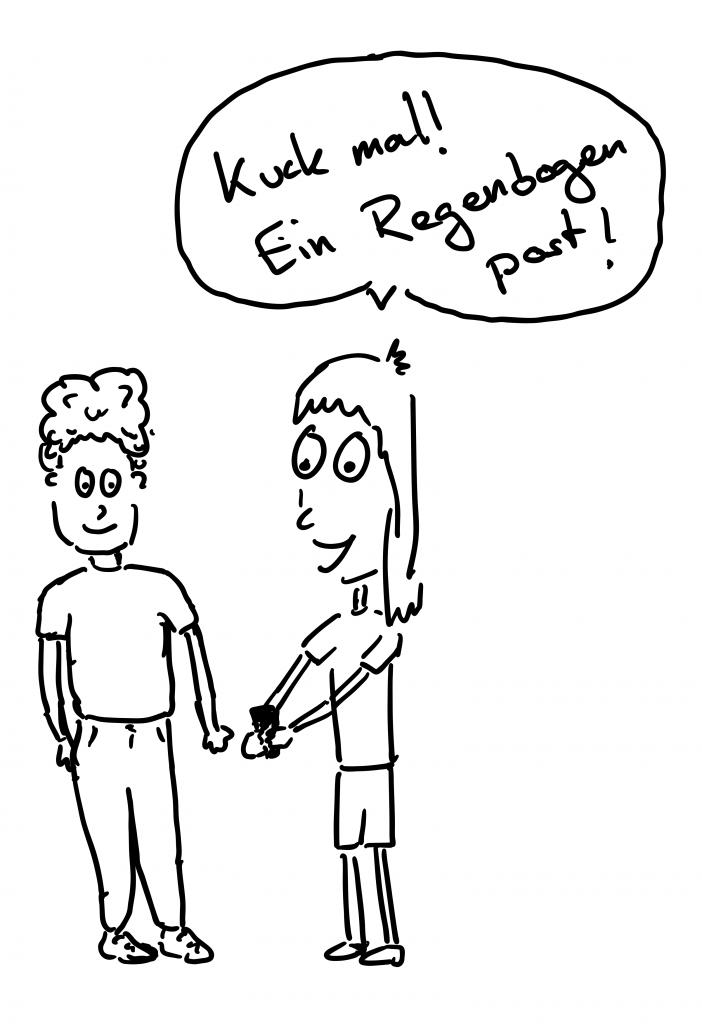 """Zeichnung von zwei Menschen die zusammen auf ein Smartphone schauen. Die Person, die das Smartphone hält, sagt """"kuck mal! ein Regenbogen post!"""""""