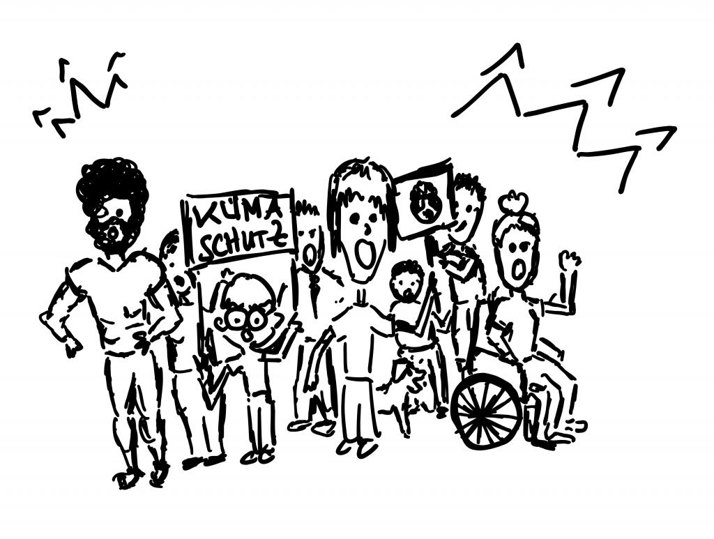 Skizze von Demonstrierenden auf einer Klimademo