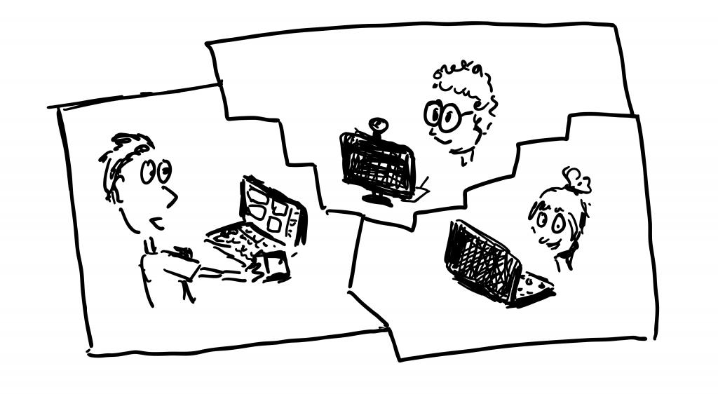Skizze von einem Video Gespräch zwischen 3 Personen.